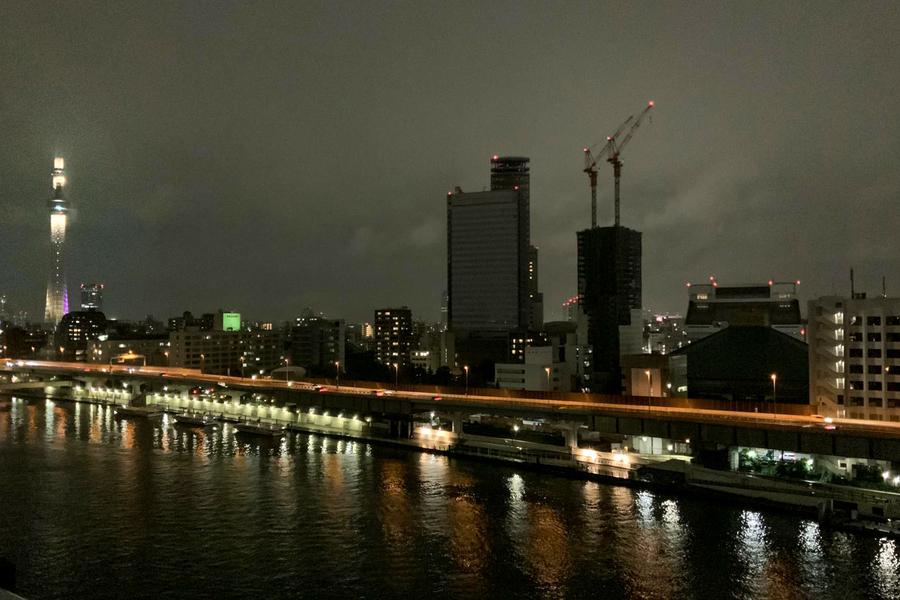 夜間はライトアップされたスカイツリーを見ることができ、また違った趣です