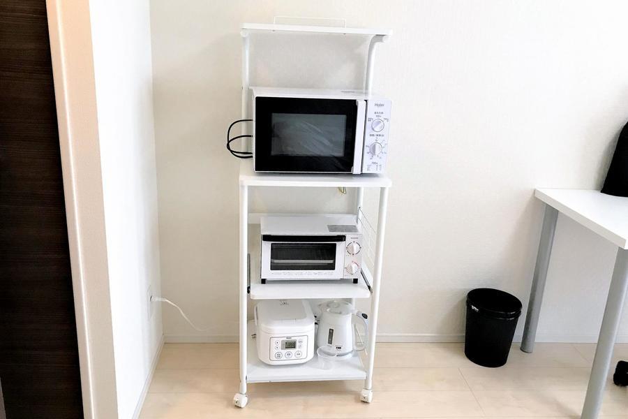 電子レンジや炊飯器などのキッチン家電もしっかりご用意しております