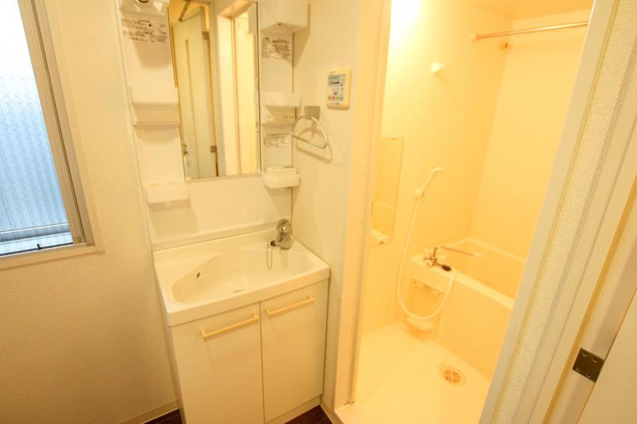 収納棚が豊富な独立洗面台。毎日の身だしなみチェックにご活用ください