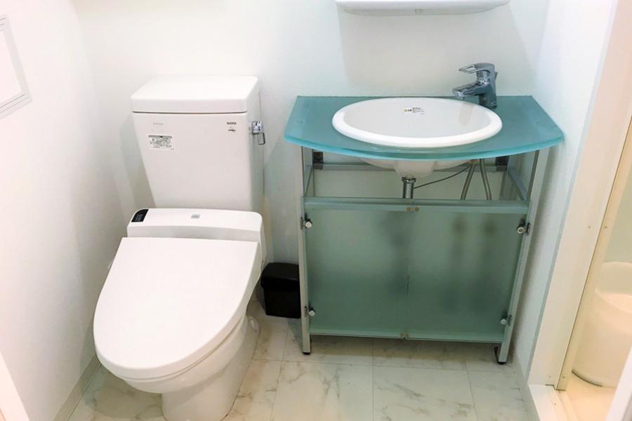 ガラストップが爽やかさを感じさせる洗面台。トイレはシャワートイレタイプです