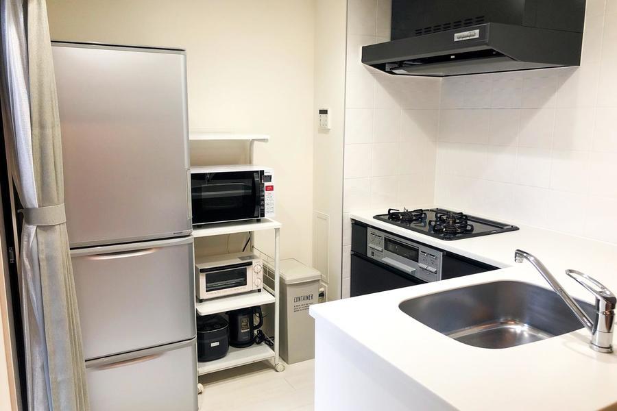 作業のしやすいL字型キッチン。ガスコンロ、グリル設置です