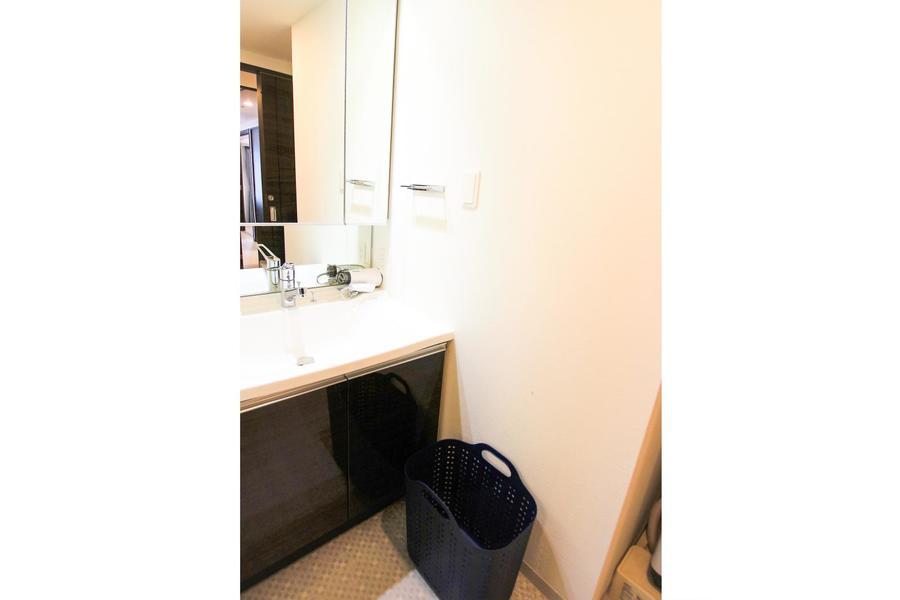 独立タイプの洗面台は、収納扉を兼ねた大型の全面鏡が特徴