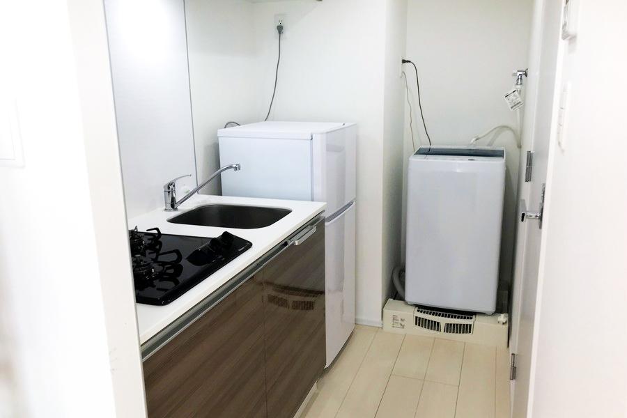キッチンスペースはお部屋の奥に。匂いも広がらず安心です