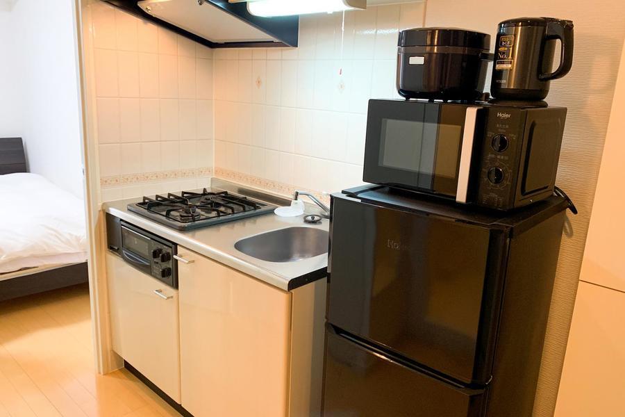 冷蔵庫、電子レンジといった家電類も全てご用意しています