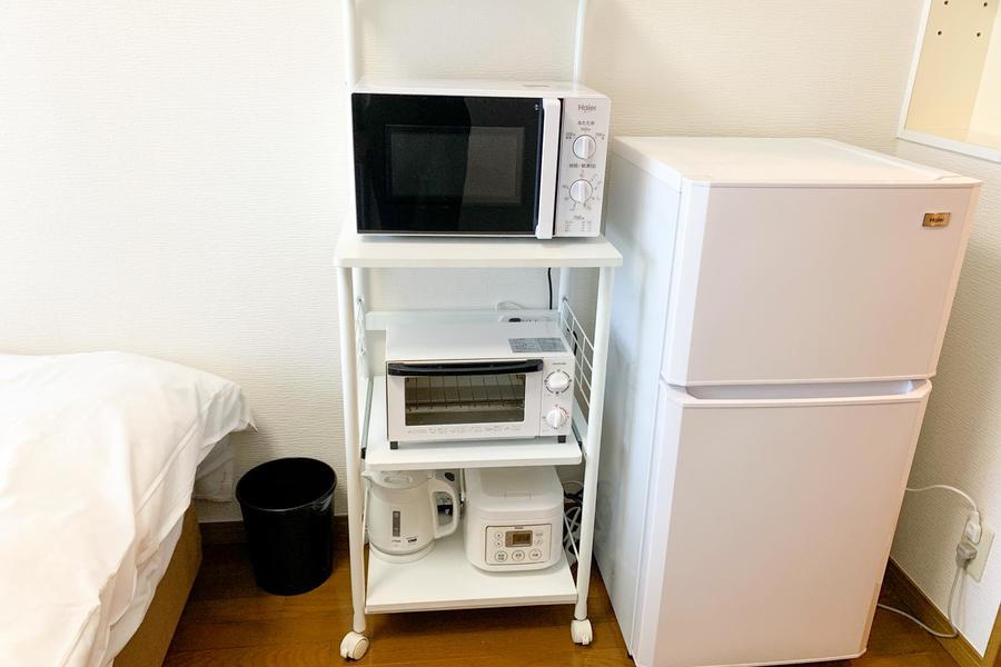 キッチン家電類は室内にまとめて配置