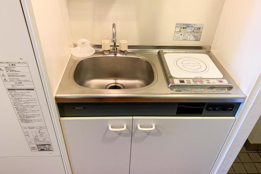 コンパクトなキッチンにIHコンロ搭載。火災の心配はありません