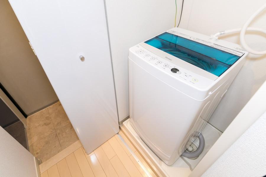 洗濯機は室内置きタイプ。衛生面にこだわる方も安心☆