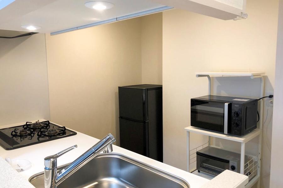 お料理がしやすいよう家電類は背面に設置