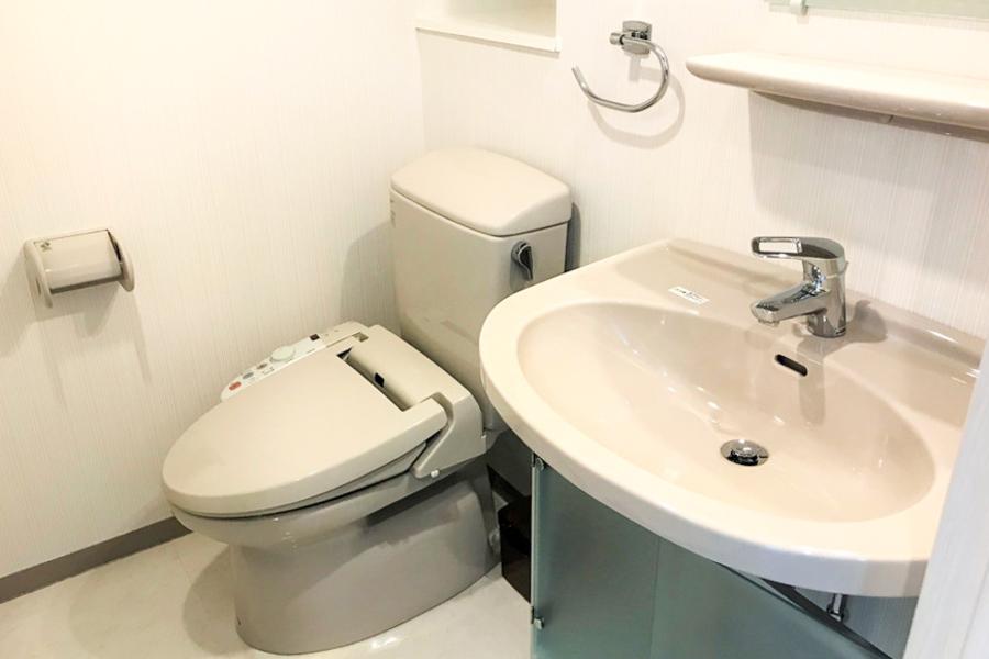 嬉しい独立洗面台。お手洗いはシャワートイレタイプです