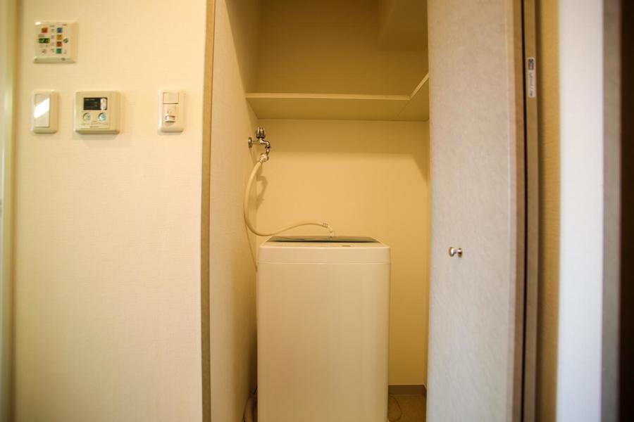 洗濯機は収納されて、必要ない時は隠せます◎
