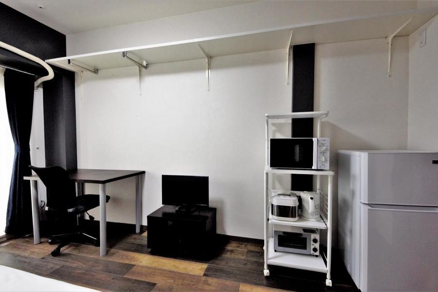 キッチン家電もお部屋に完備。キッチンが広く使えます。