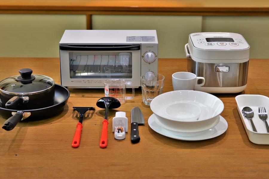 キッチン用品はこれだけ充実。料理好きの方にも満足いただけると思います。