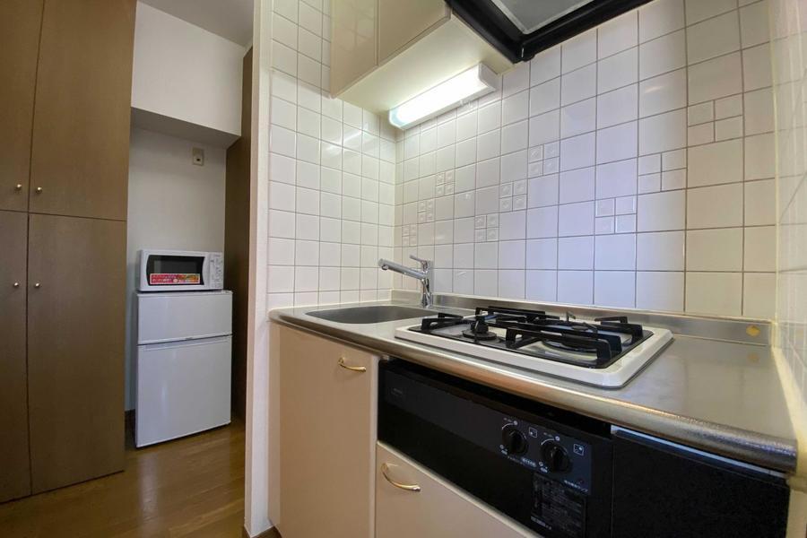 広いキッチン。コンロはガスタイプです。