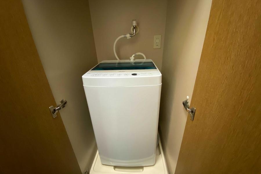 洗濯機は普段は収納に中です。
