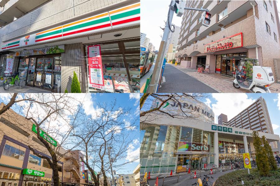 徒歩3分にコンビニ、ホットモット。王子神谷駅周辺にはスーパーや100ショップもございました!!