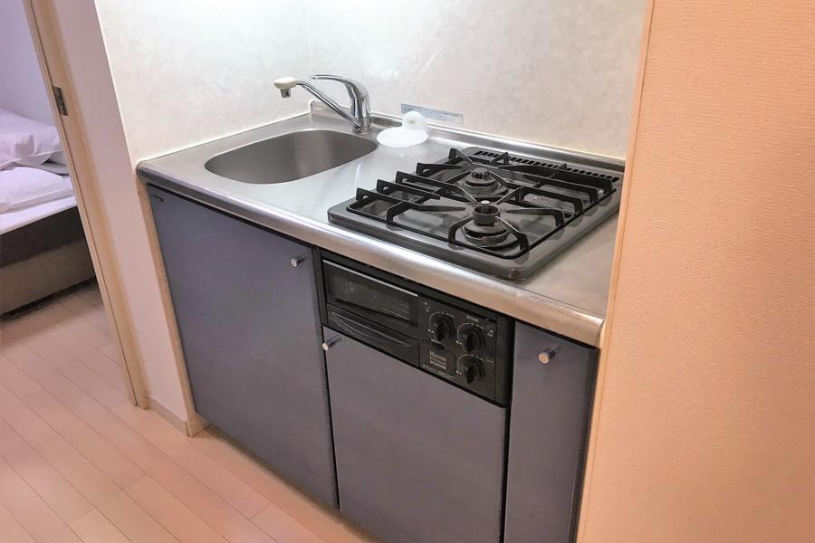コンパクトなキッチンには料理に最適な二口ガスコンロ