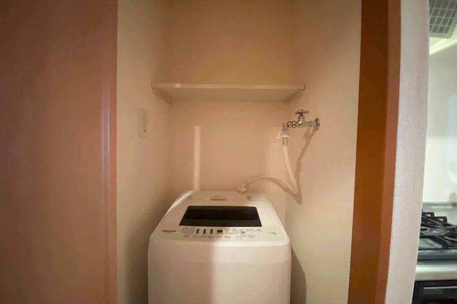 隠れる洗濯機置き場でお部屋の中もすっきりです
