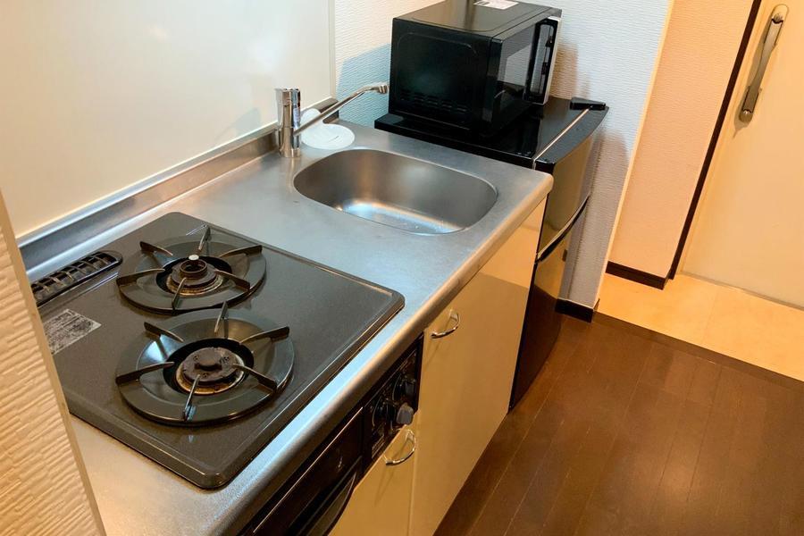 キッチンはガスコンロ&ガスグリルつき。お料理好きの方もご満足いただけます