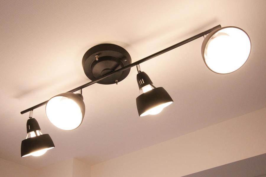 天井照明はシーリングライトスポットタイプを採用