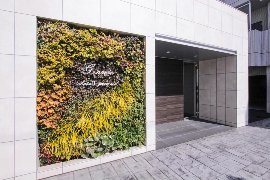白の外壁に色鮮やかなグリーンウォールと融合した館銘板が印象的です