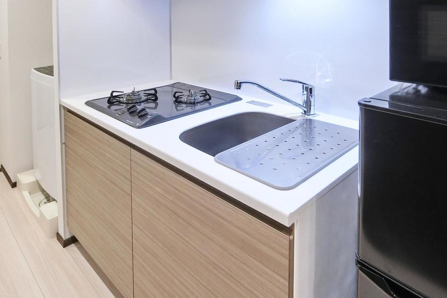 すっきりとしたキッチンスペース。火力も安心なガスコンロ搭載